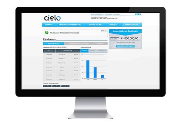 Monitor mostrando app Cielo Mobile