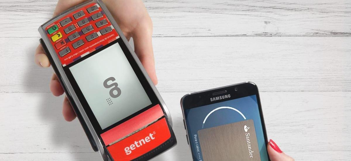 Máquina GetNet aceitando Samsumg Pay