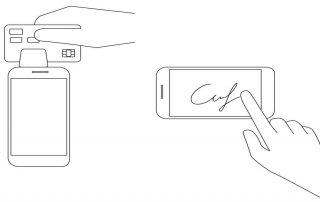 Ilustração de mão assinando em celular enquanto outra csegura celular