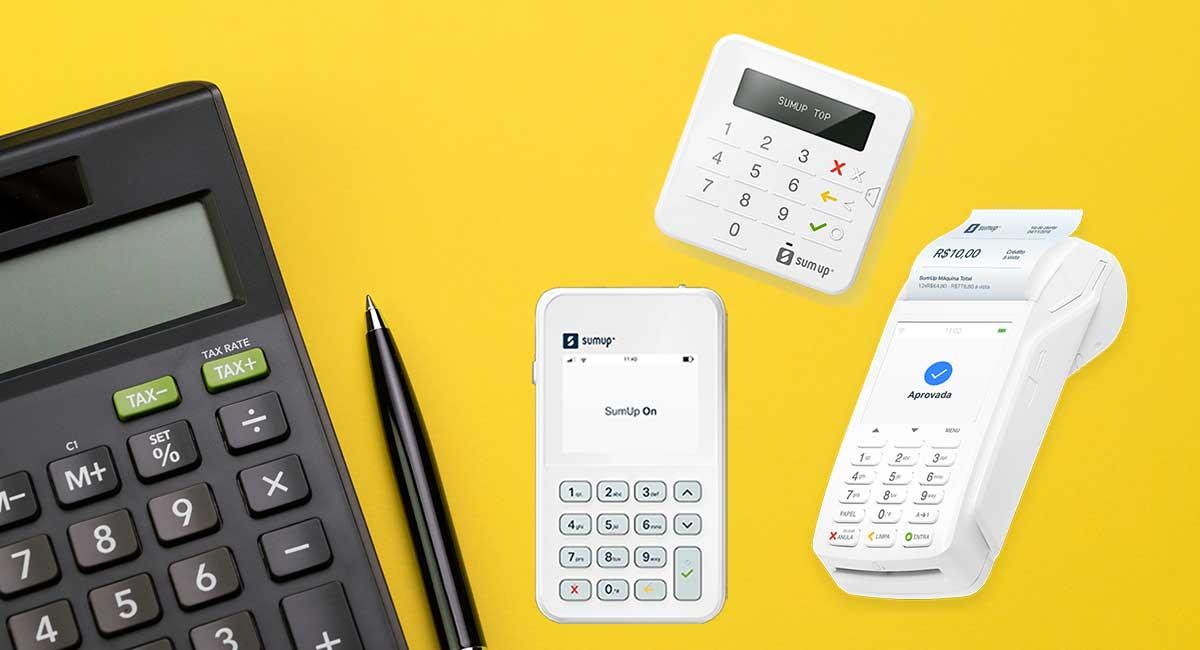 Maquininhas SumUp ao lado de calculadora de taxas
