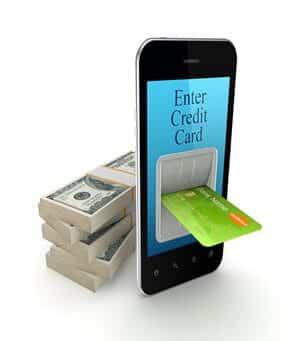 Ilustração de celular com cartão sendo inserido na tela e pacote de dinheiro atrás