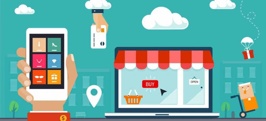 Ilustração de loja virtual