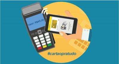 ilustração de celular com máquina de cartão e app do Banco do Brasil