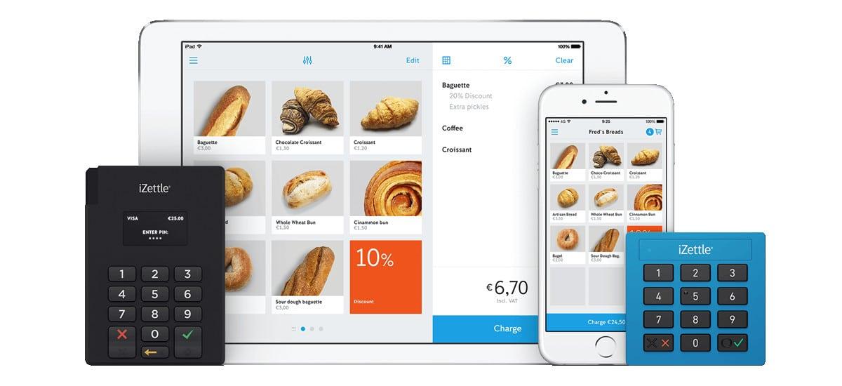 iZettle Lite e Pro ao lado de celular e tablet com app