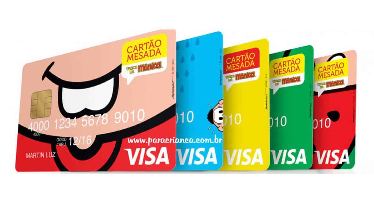 Vários modelos de cartão-mesda da Turma da Mónica
