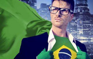 Ilustração de homem de terno com bandeira do Brasil ao peito