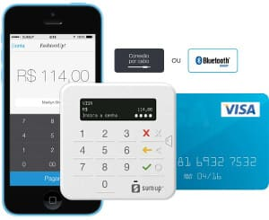 SumUp Top com cartão, celular e ícone Bluetooth