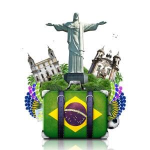 Ilustração de mal com bandeira do Brasil, Cristo Redentor e outros pontos turisticos