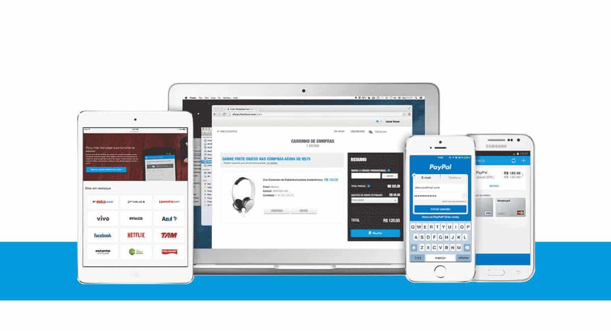Aparelhos mostrando app PayPal Checkout