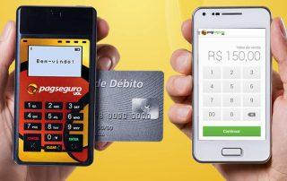 PagSeguro Mini com cartão e celular