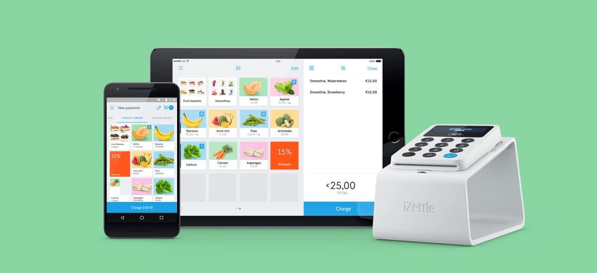 Maquinão iZettle com celular e tablet mostrando a galeria de fotos do app