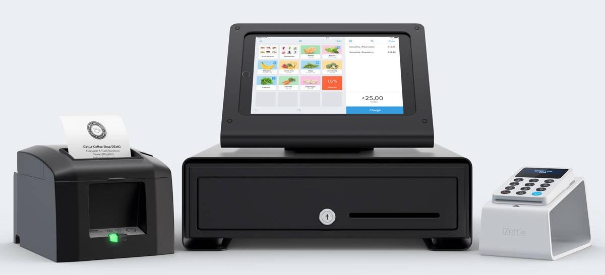 iZettle com impressora, caixa registradora