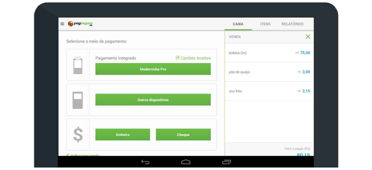Tabelt mostrando relatórios no app PagSeguro Vendas