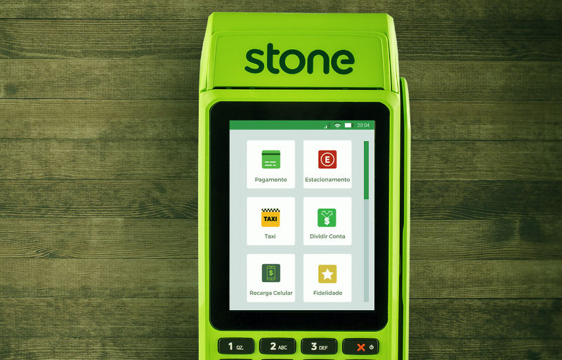 Máquina Stone mostrando apps
