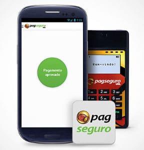 PagSeguro Mini com celular e logomarca