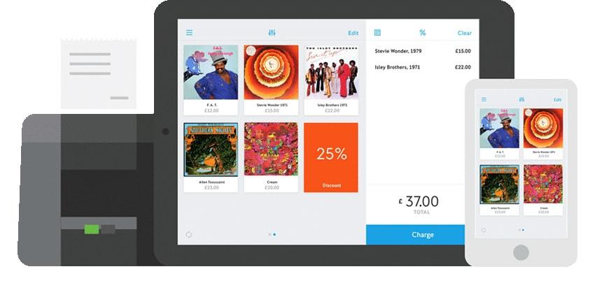 Ilsutração de tablet e celular mostrando app iZettle ao lado de impressora