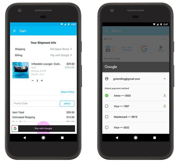 Celular mostrando Pagar com Google