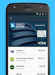 Celular com Android Pay mostrando últimos pagamentos