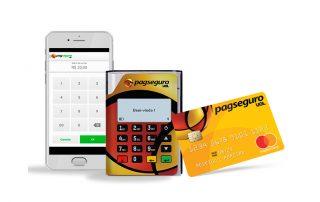 Mob Pin 10 com celular e cartão PagSeguro