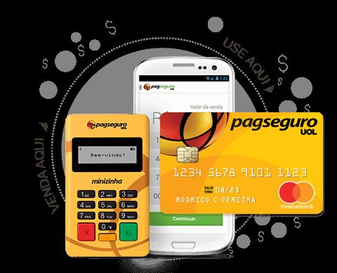 Minizinha com cartão pré-pago PagSeguro e celular