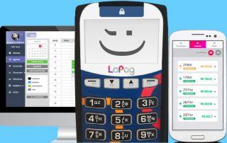 Ilustração da LaPag entre computador e celular mostrando app