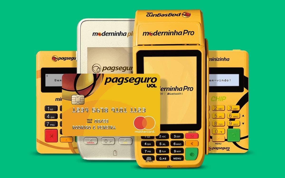 Moderninha Plus, Pro, Minizinha, Minizinha Chip e cartão pré-pago em fundo verde