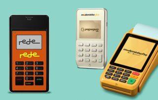 Mobile Rede, Moderninha Plus e Moderninha Pro em fundo verde