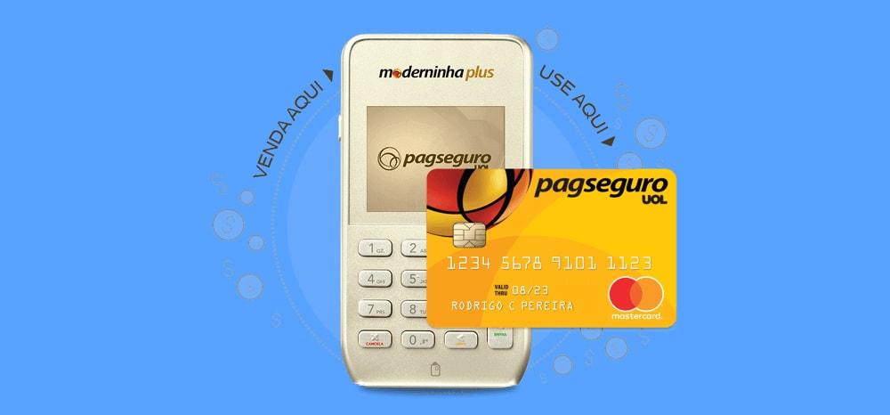 Moderninha Plus e cartão pré-pago em fundo azul