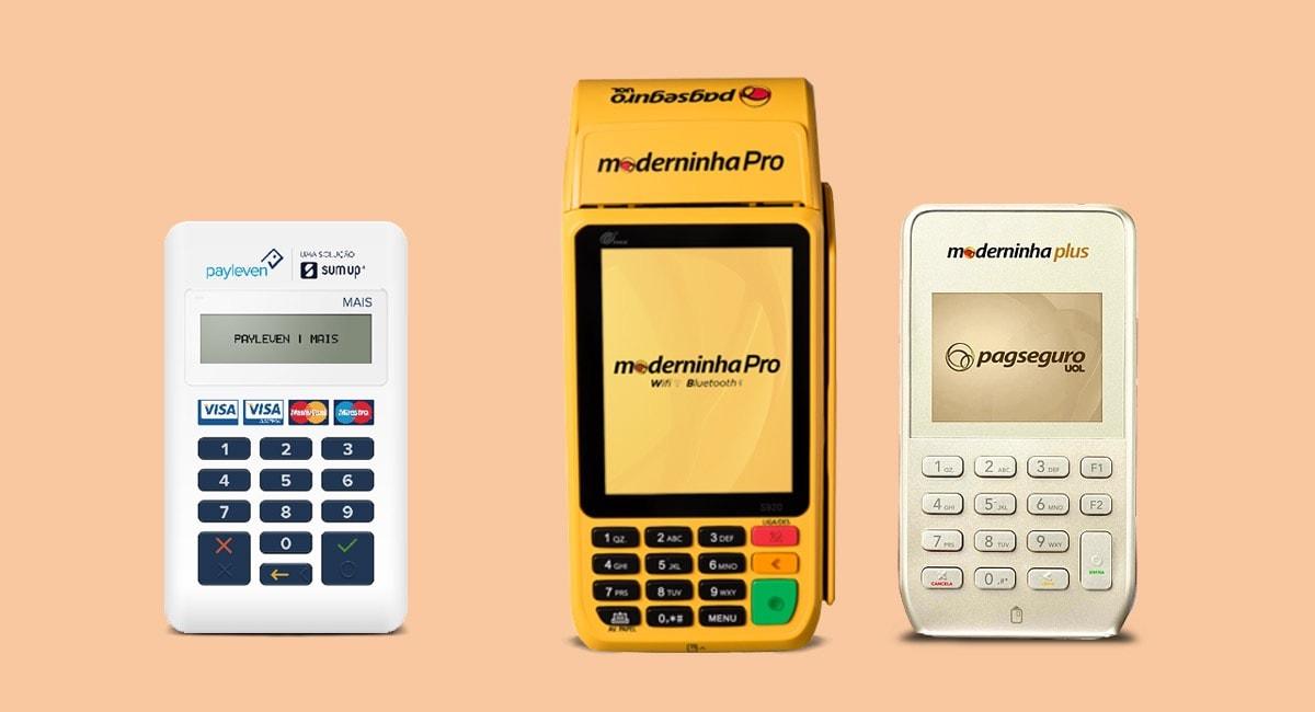 Payleven Mais, Moderninha Pro e Moderninha Plus em fundo rosa