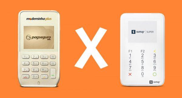 Moderninha Plus e SumUp Super em fundo laranja