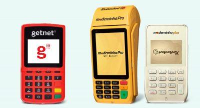 Getnet, Moderninha Pro e Moderninha Plus em fundo azul
