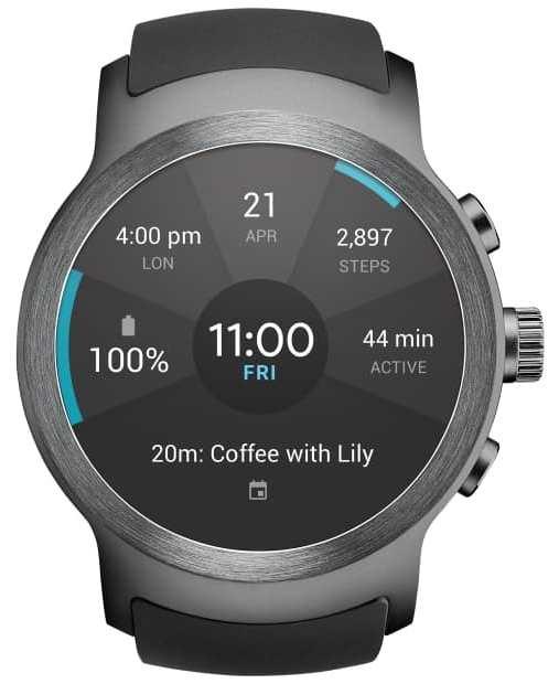 Visão frontal do relógio LG Watch Sport