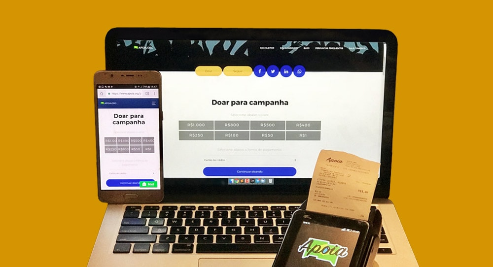 Celular, máquina e laptop mostrando sistema Apoia