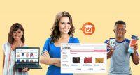 Modelos mostrando loja virtual Uol em laptop e celular