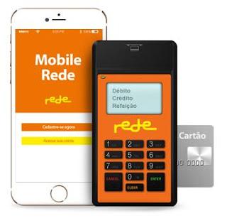 Máquina Mobile Rede com celular e cartão