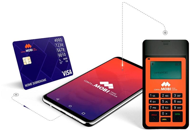 Maquininha Mobi ao aldo de celular e cartão