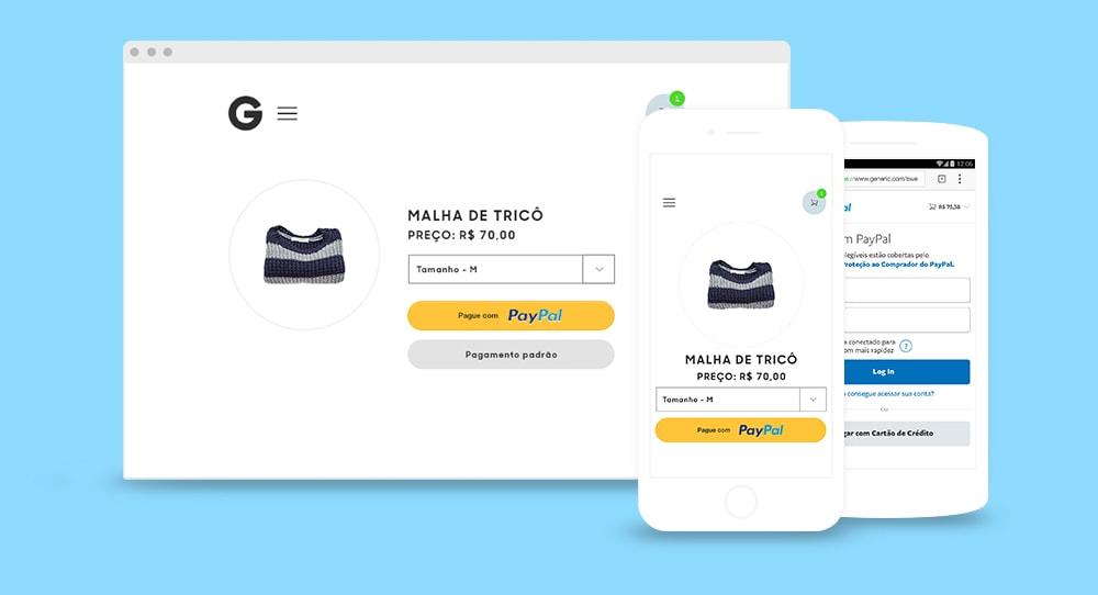 Ilustração do checkout PayPal em loja virtual