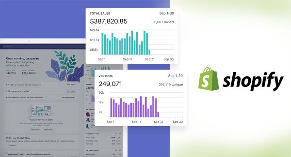 Montagem mostrando telas de gerenciamento de vendas e logomarca da Shopify