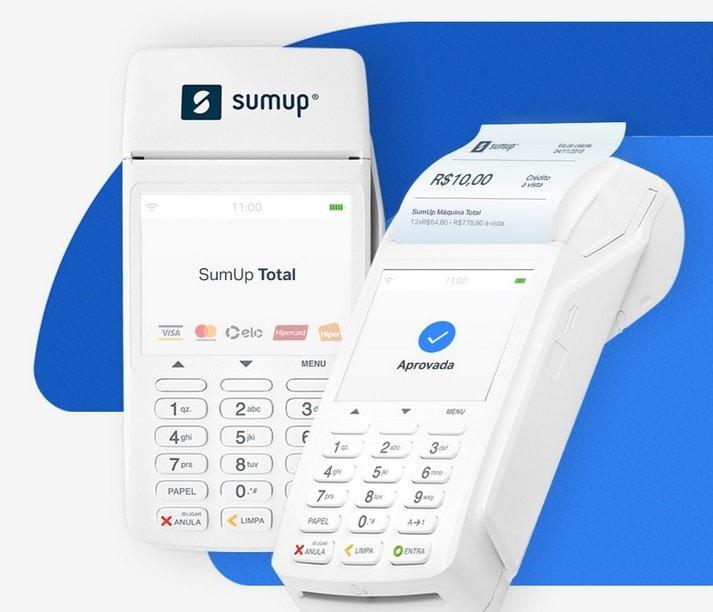 Imagem ilustrativa mostrando a SumUp Total em dois ângulos: frente e inclinada