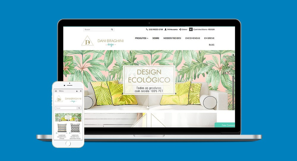 Foto ilustrativa da loja virtual Cielo no laptop e no celular
