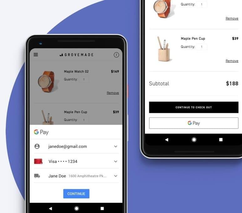 Imagem ilustrativa com fundo azul de dois celulares mostrando uma transação sendo realizada com o Google Pay