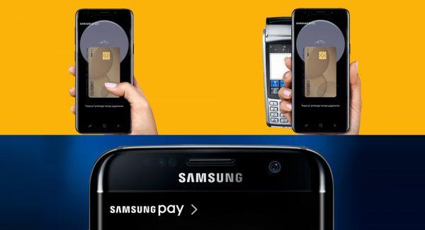 Celular mostrando logomarca Samsung Pay, outro mostrando o app com a máquina de cartão e outro confirmando senha em unco amarelo e azul