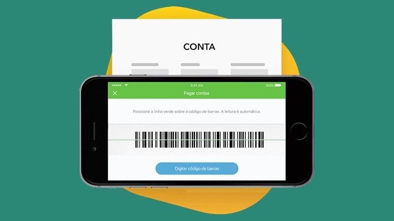 Celular mostrar código de barras do app Conta Digital