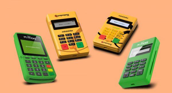 Foto ilustrativa das maquininhas Stone Mais com chip, Minizinha, Minizinha Chip e Stone Mais sem chip com fundo rosa.
