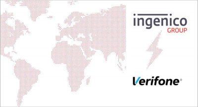 Ilustração do mapa-múndi com os logotipos das empresas Ingenico e Verifone