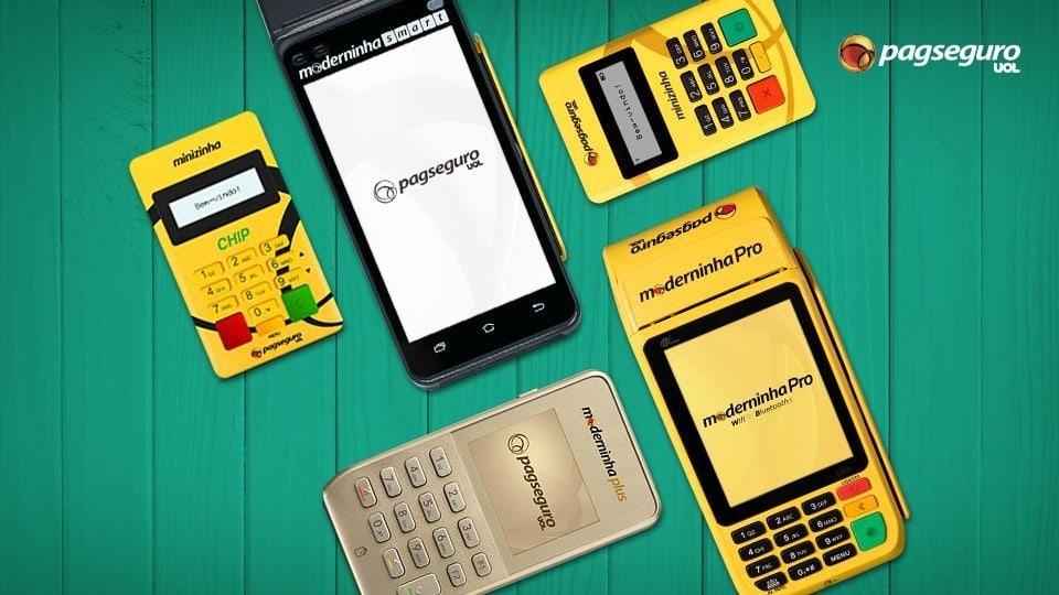 Ilustração com fundo verde da Moderninha Pro, Moderninha Plus, Moderninha Smart, Minizinha e Minizinha Chip