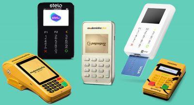 Moderninha Plus e Pro, Minizinha Chip, Stelo Mob, SumUp Super em fundo verde