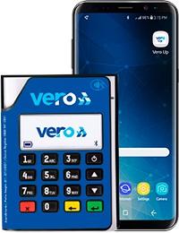 Ilustração da maquininha Vero Up Bluetooth com celular ao lado