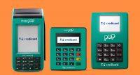 Ilustração das máquinas de cartão Mega Pop, Mini Pop Credicard e Pop Credicard com fundo laranja