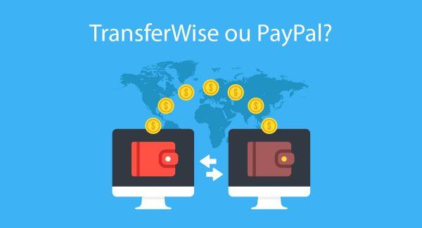 Ilustração mostrando transferência de dinheiro entre carteiras com o título TransferWise ou PayPal